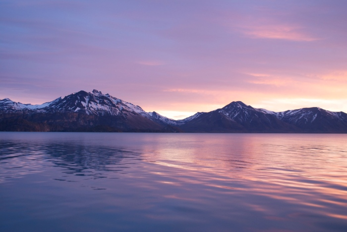 Sunrise on Lago Argentino and the Andes