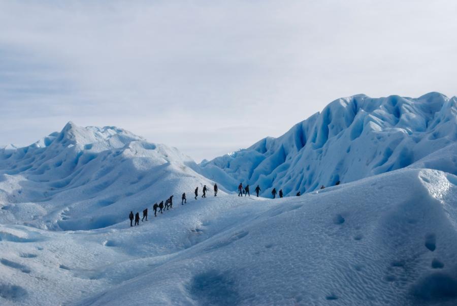 My classmates trekking on Perito Moreno