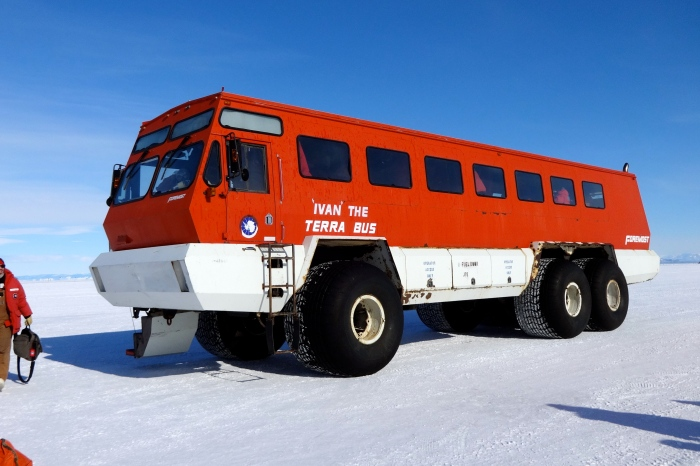 "We rode in ""Ivan the Terra Bus"" to Willie Field where our LC-130 awaited."