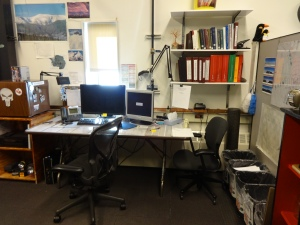 Welcome to the met corner! Here's the desk where we write up all our obs, and our little tiny window.