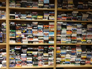 An entire wall of VHS Tapes... (Wow, these still exist!)