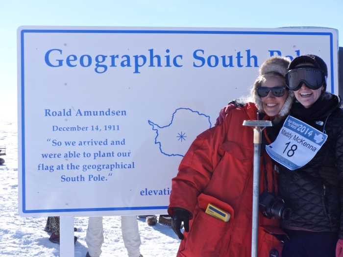 Picture at the geographic pole, with Caroline, after the finish!