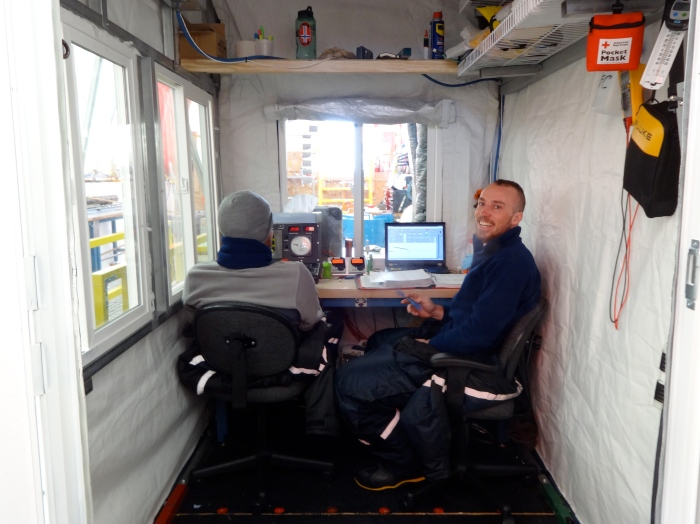 The drill control room, with Josh and Grant, two of the drillers.