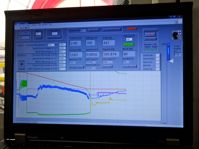 This program interface allows you to monitor the drilling fluid levels, when the drill hits the ice, and how far to drill the core.