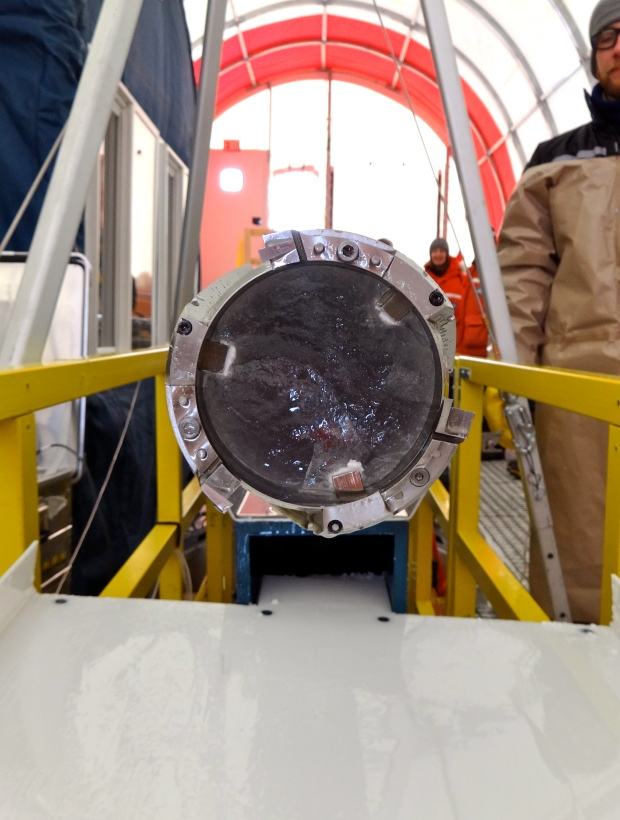 Looking into the ice core.