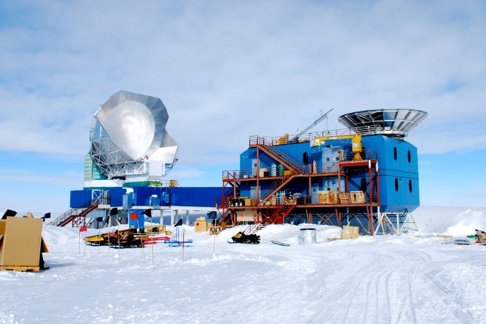 The Dark Sector Laboratory, or DSL. To the left is the South Pole Telescope, and on the right side of the roof is the BICEP3 ground shield.