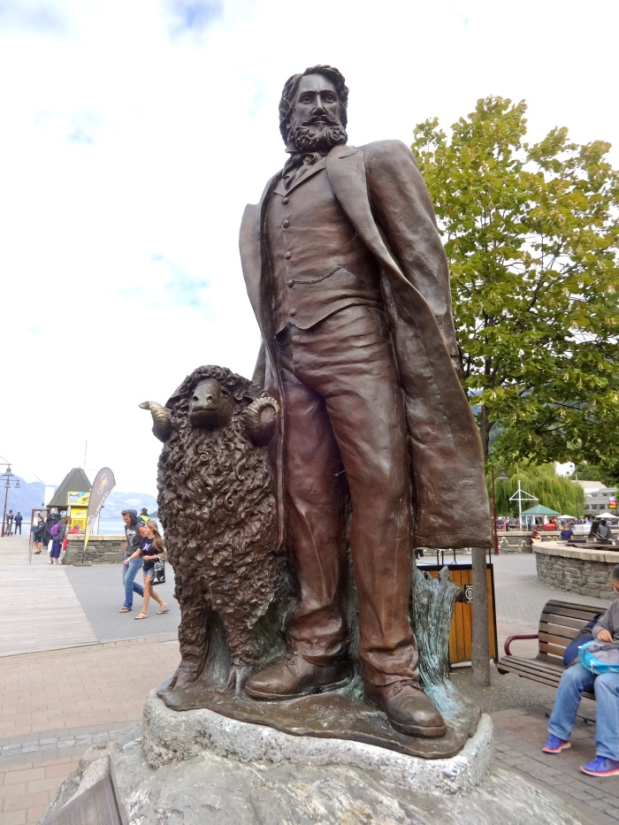 A statue of William Gilbert Rees, an adventurer who was the founder of Queenstown and one of the first settlers of the Wakatipu Basin. And, obviously, a sheep. (This is New Zealand after all...)