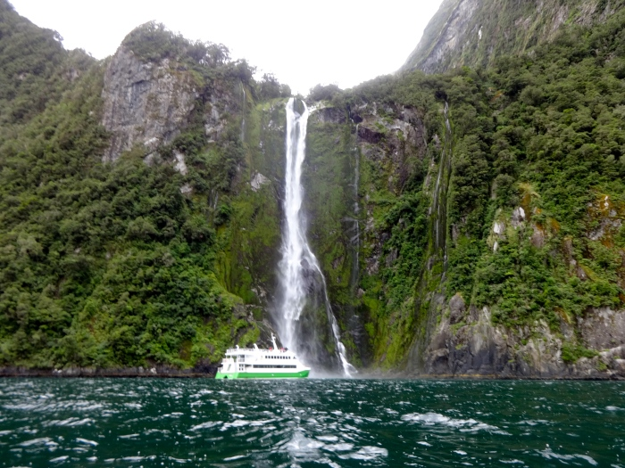 Stirling Falls. For scale, that cruise boat is 3 stories high!