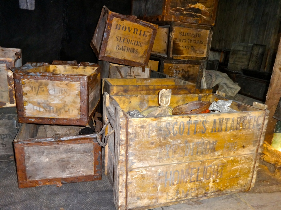 Actual crates from the Scott expedition! There was some seal blubber sitting in there too that was hundreds of years old. Gross.