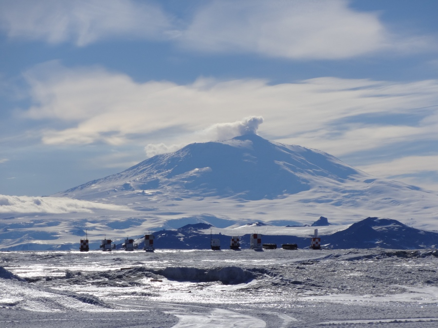 Mt. Erebus on the day we flew out.