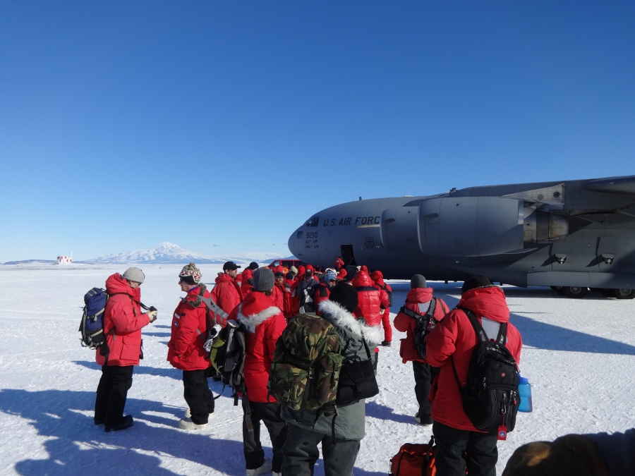 It's finally becoming real—we're getting off of the ice! There were almost 100 people on this flight.