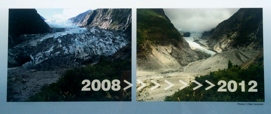 The Franz Josef Glacier comparison between 2008 and 2012 (Picture from a sign I walked past).